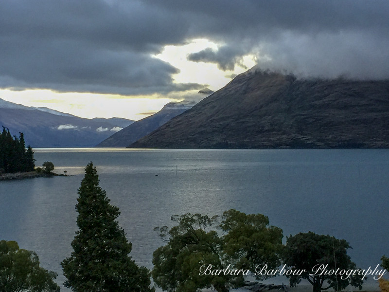 dusk over mountains in Queenstown, New Zealand
