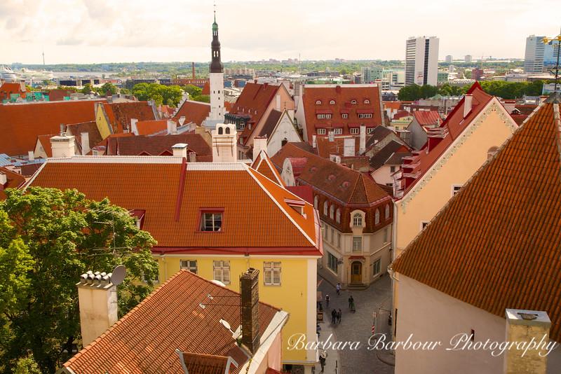 Overview of Lower Town of Tallinn, Estonia