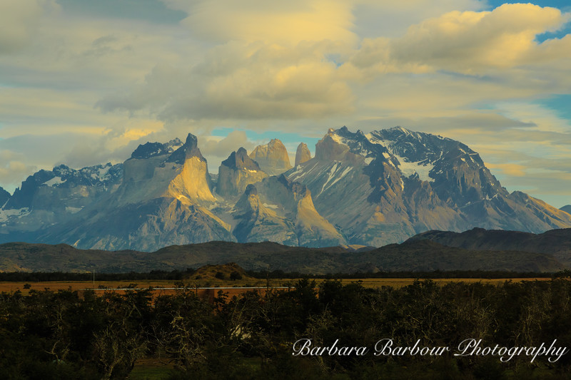 "Sunrise at Torres del Paine National Park, with ""towers and horns"" in view"