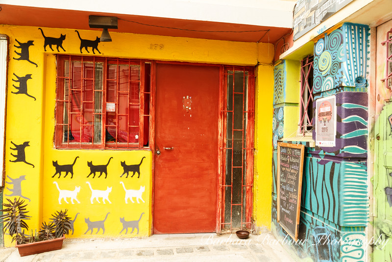 Colorfully Painted Storefronts in Valparaiso, Chile