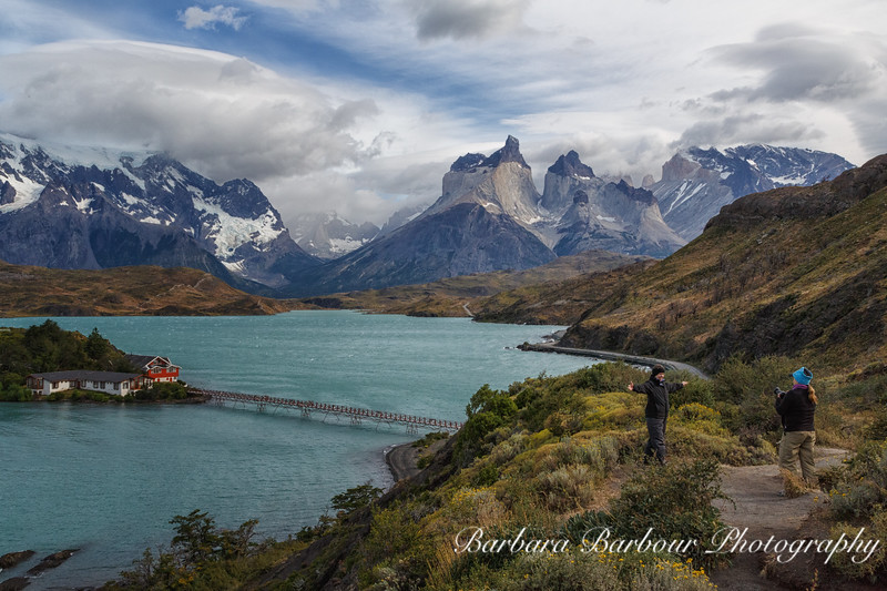 "Posing for pictures at classis view of the <br /> ""horns"" at Torre Del Paine National Park in Chile"