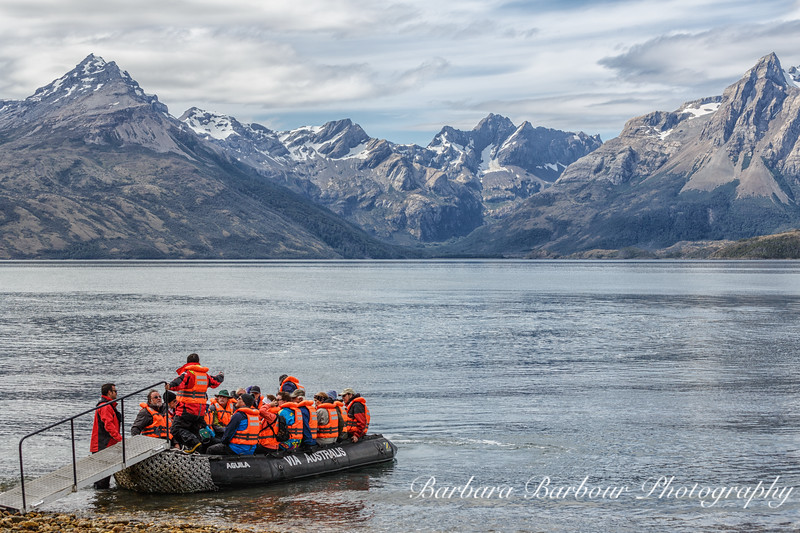 Group on Zodiac boats at Aguila Glacier in Patagonia, Chile