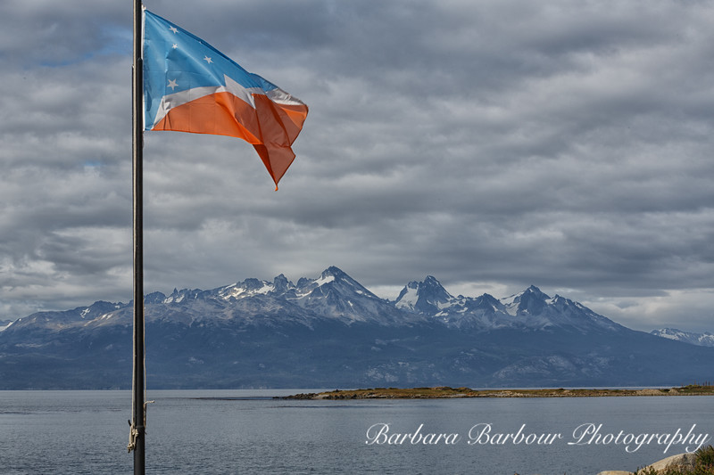 Patagonian flag in Ushuaia , Argentina
