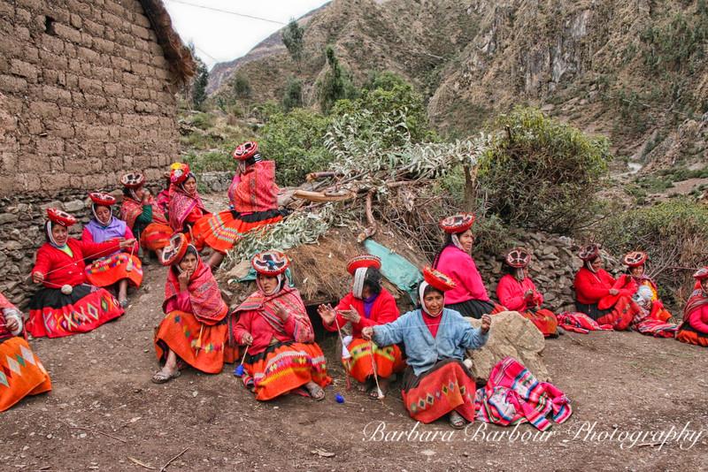 Women weaving in village along the Inca Trail in Peru