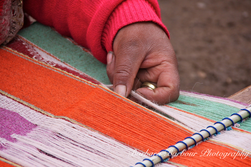 Traditional hand weaving in Peru