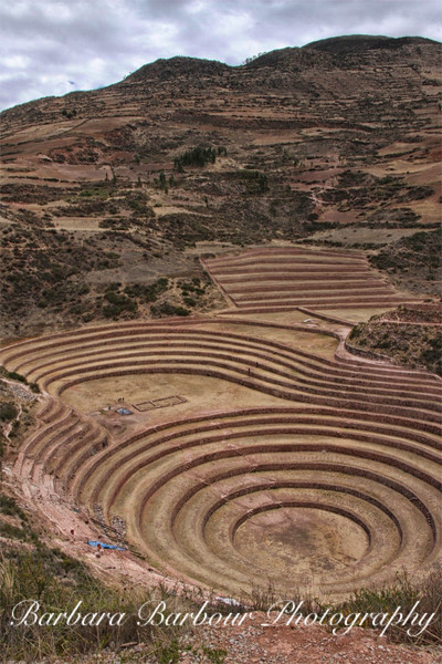 Tiered terraces for agriculture in Andes Mountains, Peru