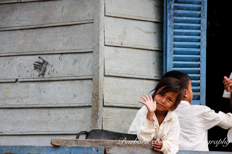 School girl at tonie Sap floating Village, Cambodia