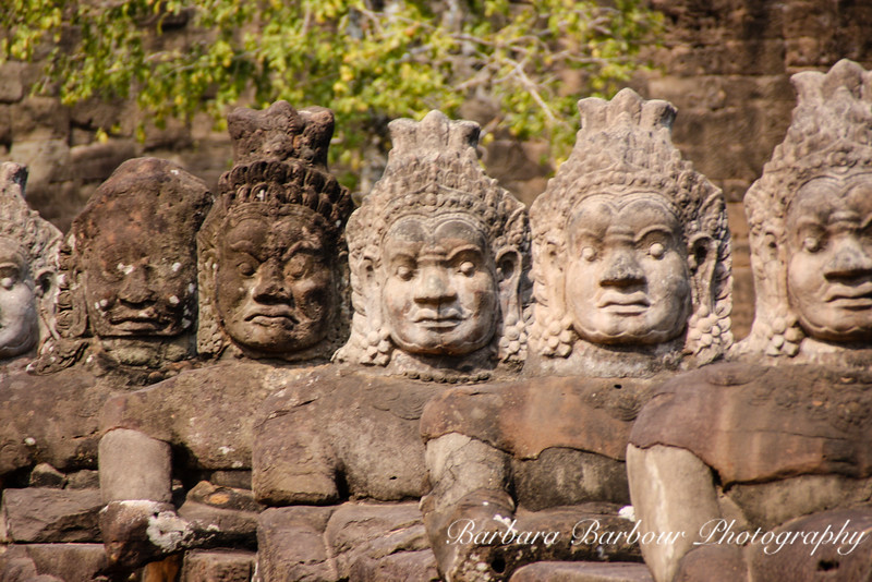 Statues at South Gate of Angkor Tom, Siem Reap, Cambodia