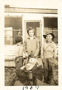 1937 - evella, billy, nancy and the dog in baby stroller