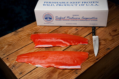 Seafood Producers Coop photos to show packaging of Alaskan Gold brand king and coho salmon