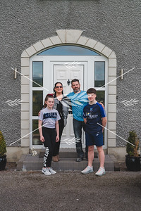 Claire Duffy and her family receive a visit to their home in Monea from her father Gaby for the first time in almost two months as restrictions ease in Northern Ireland.  Picture: Ronan McGrade