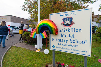 Enniskille Model Primary School held a Rainbow Day to thank the NHS recently.  Picture: Ronan McGrade