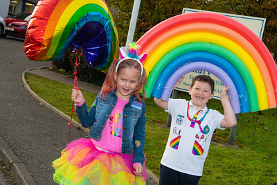 Seren Blair and Wesley Noble with the rainbow he made for the event at Enniskillen Model PS.  Picture: Ronan McGrade