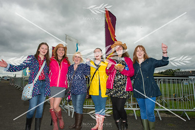 Jenny Carvill, Catherine Brady, Sinead McCausland, Noeleen McCulkey, Angela Kopyto and Laura Carvill made the trip to Enniskillen from Saintfield and Scotland for Harvest Country Music Festival    Picture: Ronan McGrade