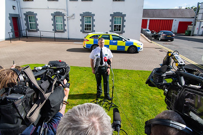 Temporary Superintendent Clive Beatty addresses the media during a press briefing at Enniskillen PSNI station on the abduction of Quinn Industrial Holdings Director Kevin Lunney.  Picture: Ronan McGrade/Pacemaker Press