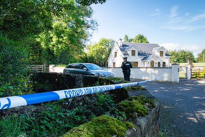 The laneway where Quinn Industrial Holdings Director Kevin Lunney was abducted is cordoned off by PSNI.  Picture: Ronan McGrade/Pacemaker Press