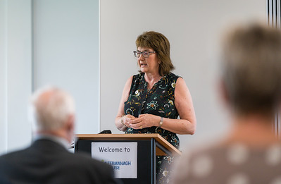 Sandra Adair MBE, NI representative for the Queen's Award for Voluntary Services speaking at Fermanagh House.  Picture: Ronan McGrade
