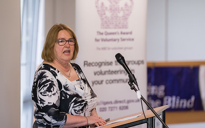 Marion McLaughlin, treasurer of Fermanagh Talking Newspaper for the Blind, speaking at Fermanagh House where the Queen's Award for Voluntary Service was awarded to two recipients from Fermanagh Talking Newspaper for the Blind at a recent ceremony.  Picture: Ronan McGrade