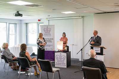Lord Brookeborough speaking at Fermanagh House where the Queen's Award for Voluntary Service was awarded to two recipients from Fermanagh Talking Newspaper for the Blind at a recent ceremony.  Picture: Ronan McGrade