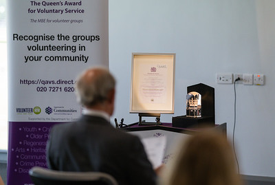 The Queen's Award for Voluntary Service was awarded to two recipients from Fermanagh Talking Newspaper for the Blind at a recent ceremony in Fermanagh House.  Picture: Ronan McGrade