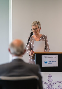 Philomena Mulligan, Secretary of Fermanagh Talking Newspaper for the Blind, speaking at Fermanagh House where the Queen's Award for Voluntary Service was awarded to two recipients from Fermanagh Talking Newspaper for the Blind at a recent ceremony.  Picture: Ronan McGrade
