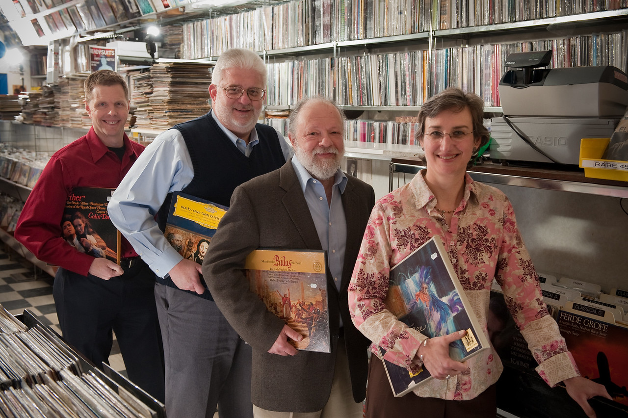 WFMT Classical Music Announcers, Lisa Flynn, George Preston, Carl Grapentine and Kerry Frumkin. Photo by Megan Bearder
