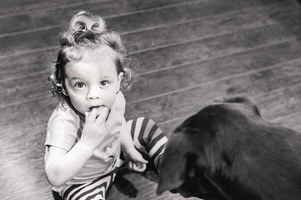 Feeding her bubba doggy treats!!!