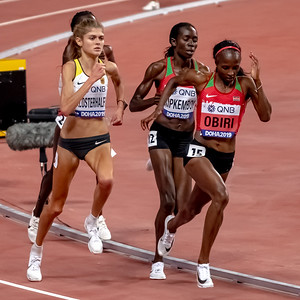 Hellen Obiri (Ken), Margaret Kipkemboi (Ken) and Konstanze Klosterhalfen (Ger) compete in the Women's 5000 metres final during day nine of 17th IAAF World Athletics Championships Doha 2019 at Khalifa International Stadium on October 05, 2019 in Doha, Qatar. Photo by Tom Kirkwood/SportDXB