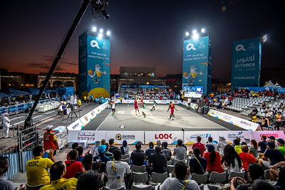 Qatar and Cote D' Ivoire in action during day one of the International 3x3 Basketball Tournament during the 1st ANOC World Beach Games at Katara on October 13, 2019 in Doha, Qatar. Photo by Tom Kirkwood/SportDXB