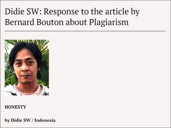 20.09.2014 - Didie SW: Response to the article by Bernard Bouton about Plagiarism