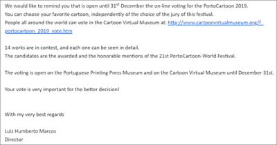 VOTE on-line - PORTOCARTOON-World Festival 2019 - UNTIL 31 DECEMBER