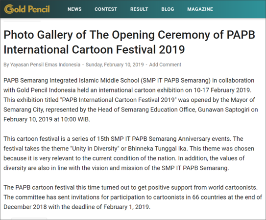 13.02.2019: Photo Gallery of The Opening Ceremony of PAPB International Cartoon Festival 2019
