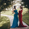 Sienna Gown in Teal and Grace Gown in Merlot