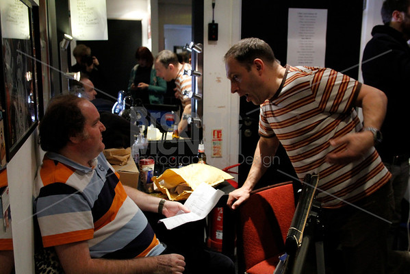 Ed Aczel and Adam Bloom in the green room, Eaves Stand up for women, Soho Theatre, London. 5Nov2012 ©BronacMcNeill