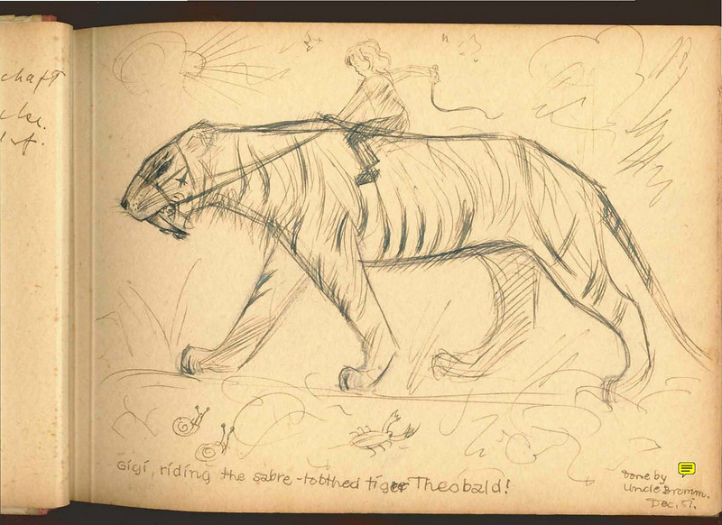 Fig. 316. Gigi riding the sabre-toothed tiger Theobold! by Professor Reith