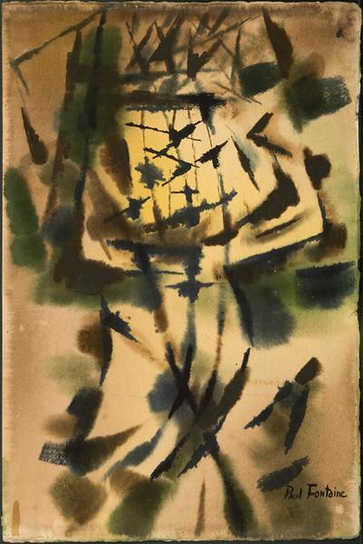 """The Moon Garden"" c. 1952-3, watercolor, 15 x 22,  ( no.20) 28f. Exhibited ""Alexander Calder, Paul Fontaine, Louise Roesler"", Frankfurter Kunstkbinett hanna Bekker vom Rath, Frankfurt, Germany, Feb. 1953."