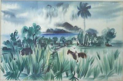 Tortola, British Virgin Islands, 1941. Watercolor (size).Collection Robert Johnson