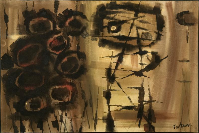 """1950's?, Germany """"Cyclops"""" (14 7/8 x 20 5/8) watercolor (no.34) 59f"""