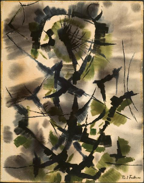 "Fig 121 ""Wilderness, c. 1952.Watercolor, 21.25 x 17 in.Austin, TX Collection Chidester.  Exhibited ""Alexander Calder, Paul Fontaine, Louise Roesler"", Frankfurter Kunstkbinett hanna Bekker vom Rath, Frankfurt, Germany, Feb. 1953. 89f"