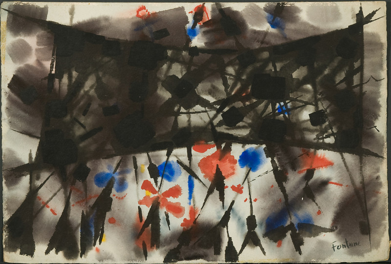 """Fig 132 1954, Germany""""Summer Game"""" (15 3/8 x 22 1/2)  ( no. 27) watercolor 6f"""