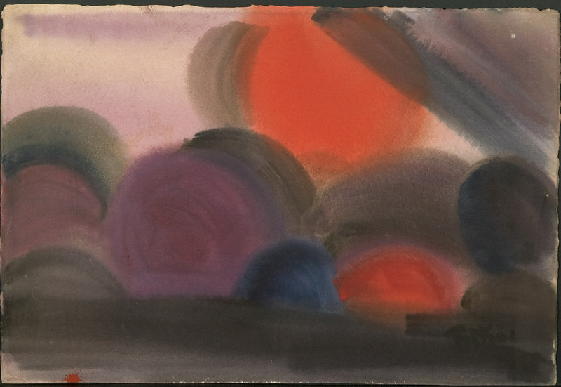 """""""Sunsets"""", c. 1972. (15 1/4 x 22 3/8) watercolor 103f (inventory 44)"""
