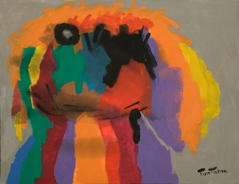 """1996, Austin, TX, untitled-painted from granddaughter Paula's drawing (41"""" x 53"""")"""