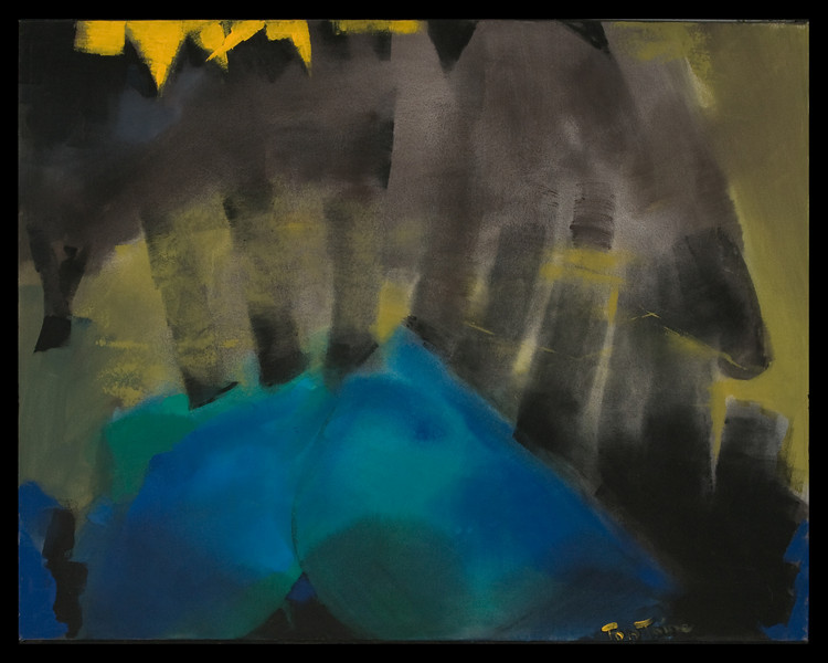 1995, Austin, TX, Untitled-sweeping strokes, black, yellow & blue (large size)