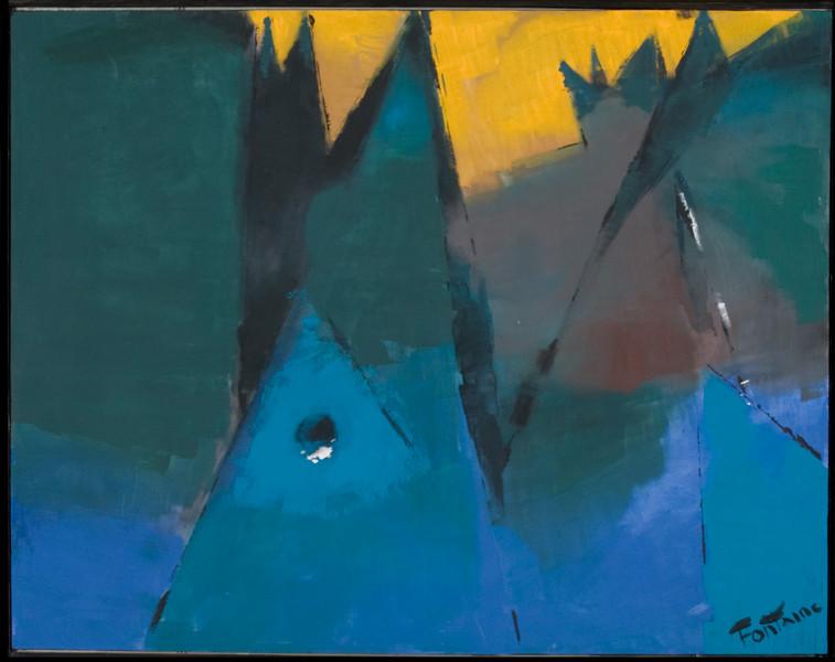 """""""Scheiter"""", acrylic on canvas (55 x 44),1995, Austin, TX"""