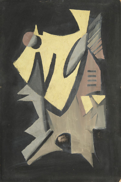 Fig. 19 Yellow Shield in Black or Dog Days, 1948. Oil on board, 32.5 x 21.5. Austin, TX Collection Chidester