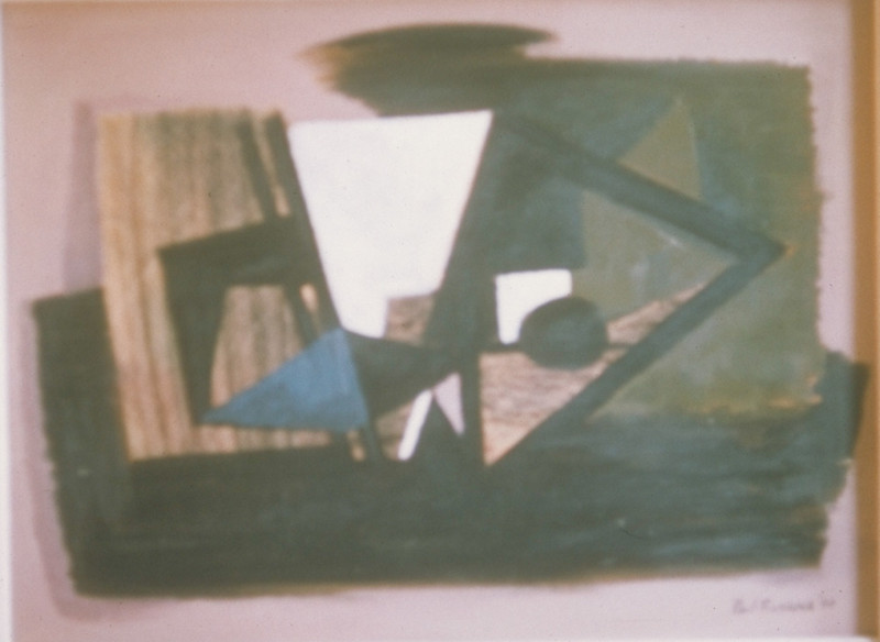 """""""    """", mixed media-oil &ink on board, 1949"""