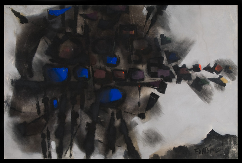 Fig 24 Untitled (composition in black squares and blue) 1962, Casein on canvas,39.38 x 59 in.(149.86 x100 cm).Exhibited in the Darmstädter Sezession.