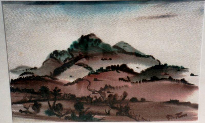 Untitled-Brown Hillside, Tortola? , 1941. Watercolor, 13.5 x 20.25 in. Estate of Carol Frohman Barboo.