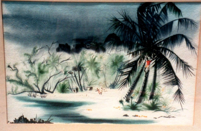 Untitled-Man in Palm tree, Tortola, 1941. Watercolor, 13.5 x 20 in. Estate of Carol Frohman Barboo.