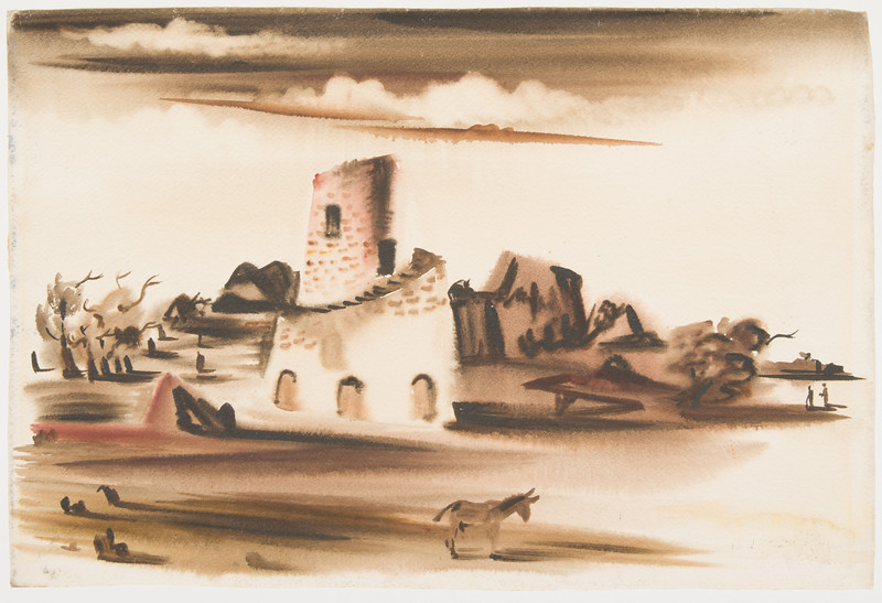 """Fig. 168 """"Virgin Island""""   British Virgin Island 1941, 14 1/4 x 21 in., (36.19 x 53.34 cm) watercolor,<br /> Collection Chidester"""